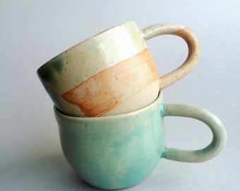 Coffee mug - ceramic mug - orange and green ceramic mug - rustic mug - handmade ceramic mug - housewarming gift - unique mug - statement mug