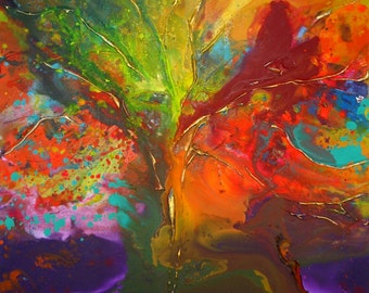XL Original Tree painting by Caroline Ashwood - Huge Fine art contemporary abstract on canvas - FREE SHIPPING