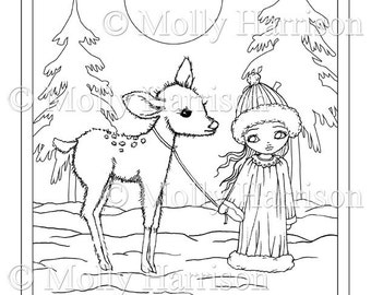 Girl And Fawn In Snow Coloring Page