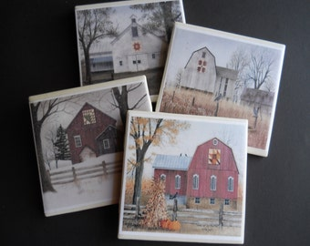 Barn Coasters ~ Old Red Barn ~ Barns With Quilts ~ Country Rustic Decor ~ Vintage Barns ~ Antique Barns ~ Americana Decor ~ Drink Coasters