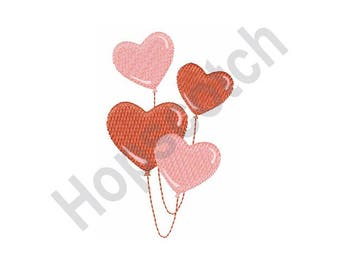 Heart Balloons - Machine Embroidery Design, Hearts, Balloons