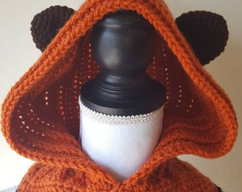 Star Wars Ewok inspired Crochet Hooded scarf, Yub Nub Hooded scarf, Crochet Ewok Costume,Cosplay Ewok Hoodie