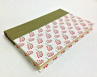 Handmade Journal with Red Berries Pattern