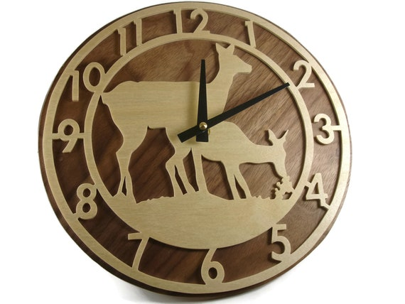 Deer Grazing Scene Wood Wall Hanging Clock Handmade From Birch And Walnut Wood By KevsKrafts