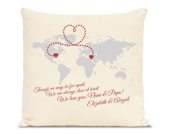 worlds apart printed pillow, personalized locations connected with hearts, family gift - connect any states or countries with hearts