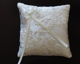 Ivory Satin Wedding Pillow, Ring Bearer Pillow, Wedding Ring Pillow, Ivory