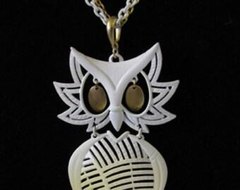 White Enameled ALAN Owl Necklace Original chain