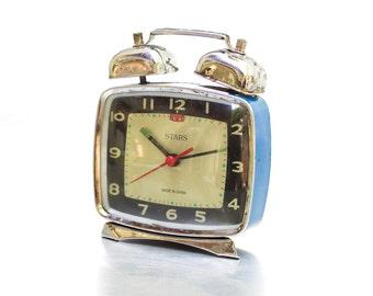 Vintage Blue Stars Chinese Mechanical  Alarm Clock China Clock ohtteam,  Vintage Clock, Mechanical watch, Soviet Union