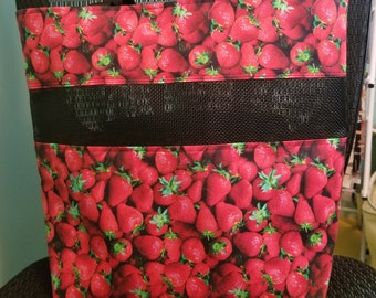 Strawberry Vinyl Mesh Bag