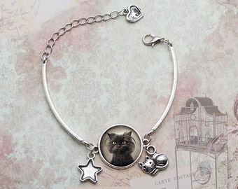 Black Cute Cat Bracelet, Grumpy Cat Bracelet Cat Lover Gift Jewelry