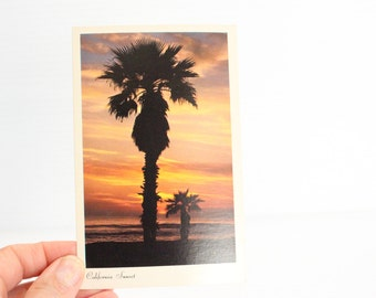 CALIFORNIA SUNSET Post Card, Palm tree in sunset,orange and yellow sunset picture, beautiful sunset photo,Vintage Memento,Vintage Souvenir