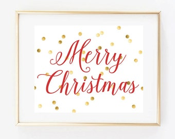 Merry Christmas Red and Gold Print Holiday Home Decor Print Faux Gold Foil, liviloudesigns, Livi Lou Designs