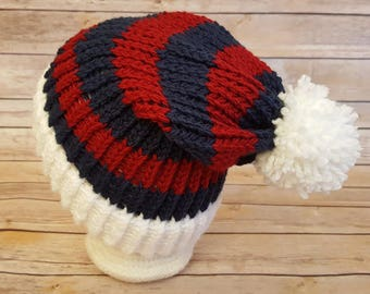 Red White Blue  Slouchy Hat, Red Blue Sports Team Hat, New England Patriots Hat, Knitted NFL Hat, Patriots Beanie, Indians Hat, Patriots Hat