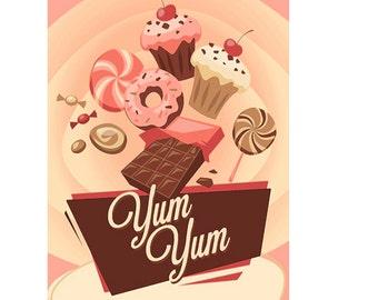 Yum Yum Cake Sweets Vintage Enamel Metal TIN SIGN Wall Plaque