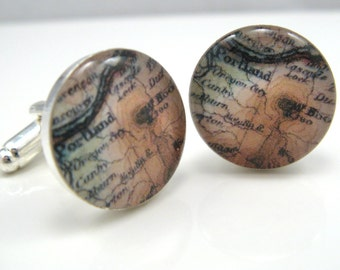 Vintage map cufflinks - Portland and Mt. Hood, Oregon 1922 - silver-plated round