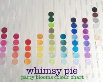 COLOUR CHART for Whimsy Pie Party Bloom Giant Paper Flowers