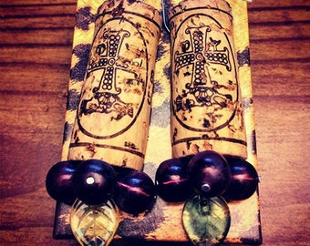 Upcycled Wine Cork & Grape Earrings