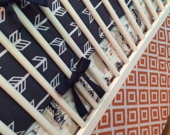 Navy and Orange Crib Bedding Set | Nursery Bedding Baby Boy Bedding Woodland Nursery Aztec Teepee Arrows Tribal Nursery Bumper Sheet Skirt