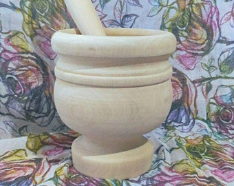 Mortar and pestle in hand made wood