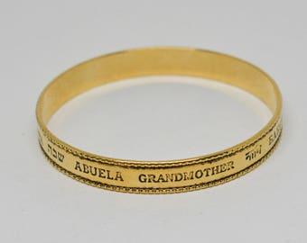 "Gold tone ""Grandmother"" bangle bracelet"