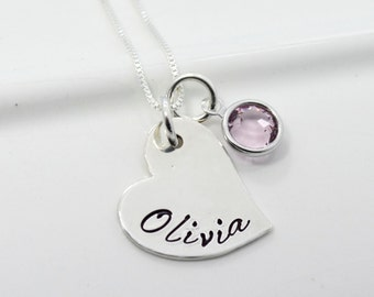 Personalized Necklace Hand Stamped Heart Charm with Name and Birthstone
