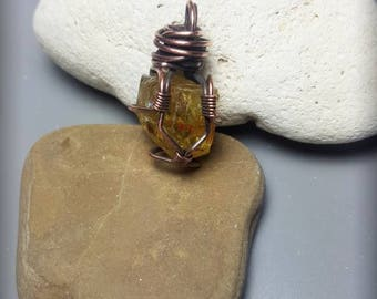 Small wire wrapped apatite pendant