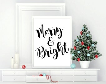 Printable Wall Art, Merry & Bright, Christmas, Home Decor, Instant Download