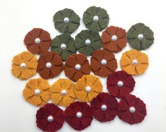 20pcs Felt Flowers, Fall Wool Felt Flowers, Mini Felt Flower Set.