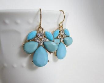 blue earrings, aqua cluster earrings, prom teardrop earrings, teal jewelry, statement earrings, blue jewelry, dangle earrings, gold fill