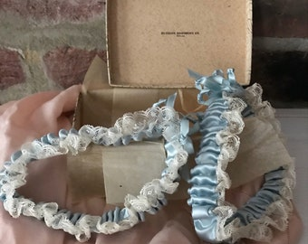 Vintage Wedding Garters. Wedding Accessory. Blue satin and white lace garters. Bridal shower gift.