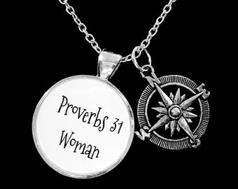 Gift For Her, Proverbs 31 Woman Compass Necklace, Inspirational Bible Scripture Christian Gift Necklace