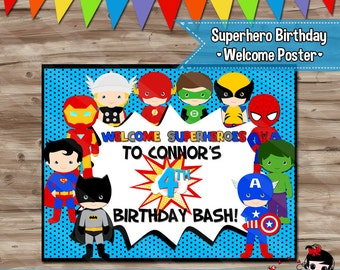 Superhero Birthday Poster Superhero Birthday Back-drop Welcome Poster Superhero Party Decor Superhero Backdrop - Customized JPG Digital File