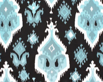 Designer fabric shower curtain, ikat regatta blue, cotton 72 x 72, 72 x 84, 72 x 90, 108