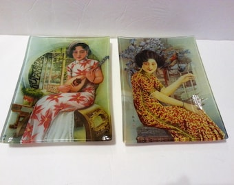 Two Glass Plates with Asian Ladies Design