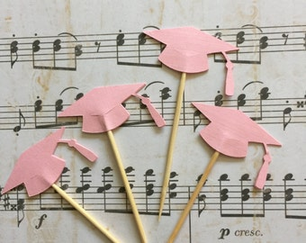 24 Pieces PINK Graduation Cap Cupcake Toppers, Toothpicks, Graduation Party Decor