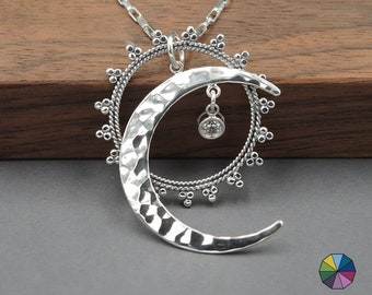 Celestial Jewelry Sun and Moon Necklace moon jewelry moon phase sterling silver moon pendant