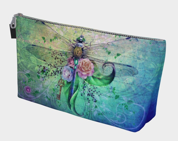 dargonfly makeup or cosmetic bag with orginal dragonfly art