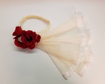 Red and Ivory Veil