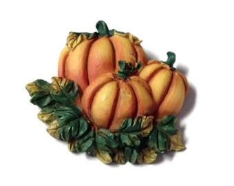 Fall Halloween Pumpkin Magnet, Repurposed  Vintage Brooch, Green Orange magnet, Takuniquedesigns