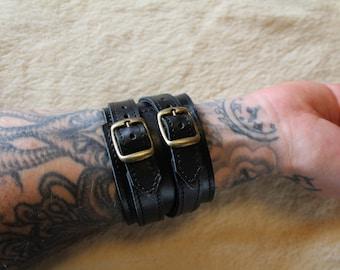 Bracelet of strength; strength leather bracelet. strength black wrist; Bracelet wide black leather