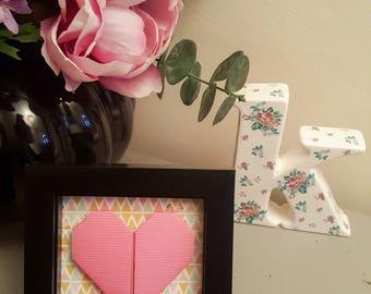 Origami Heart - Pink geometric