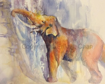 8x10 inch Watercolor Bathing Bull Asian Elephant (PRINT)
