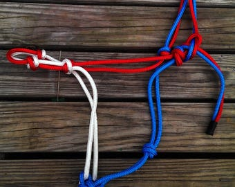 red white and blue rope halter