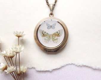 Double Butterfly Round Locket - Vintage Illustration Brass Locket Necklace - Teal Blue Cream Butterflies