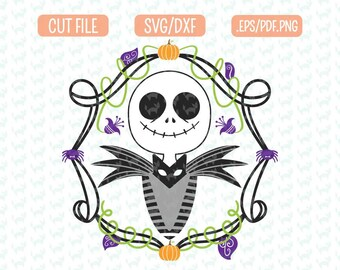 Inspired Nightmare before christmas SVG, DXF, EPS, png Files for Cutting Machines Cameo or Cricut - Jack SKellington Svg, Halloween Sign Svg
