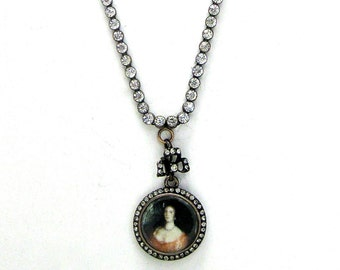 Victorian Hand-Painted Pendant &  17-Inch Paste   Necklace