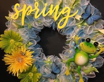 Spring Frog Deco Mesh Wreath