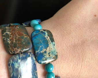 River rock multicolored beaded bracelet