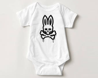 Skull and Cross bones Bunny Baby Onesie-  baby, toddler, holiday, Easter, family photo, baby's first easter, punkl bunny