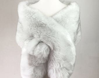 Light Gray fur Shawl, Gray Fur Bridal Wrap, Wedding Fur shrug, Faux Fur Wrap, Bridal Faux Fur Stole Fur Shawl Cape, (Lilian Gry03)